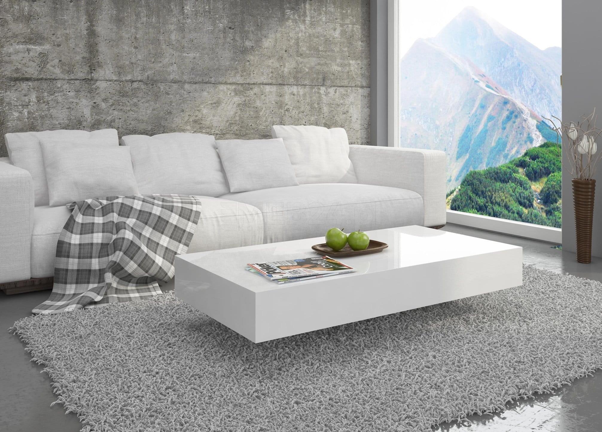 Stolik Pixel 90cm Biały Wysoki Połysk