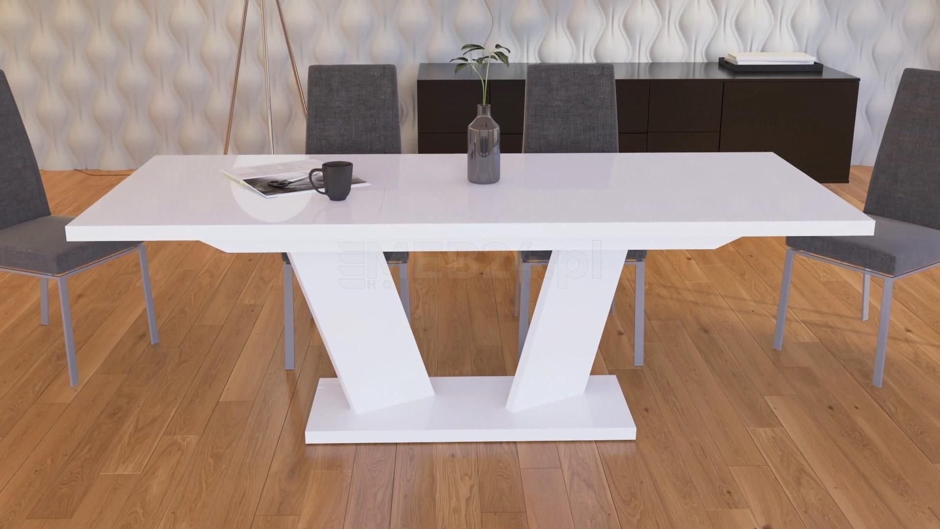 Stół Rozkładany Sommelier Biały Wysoki Połysk Z Kategorii Stoły