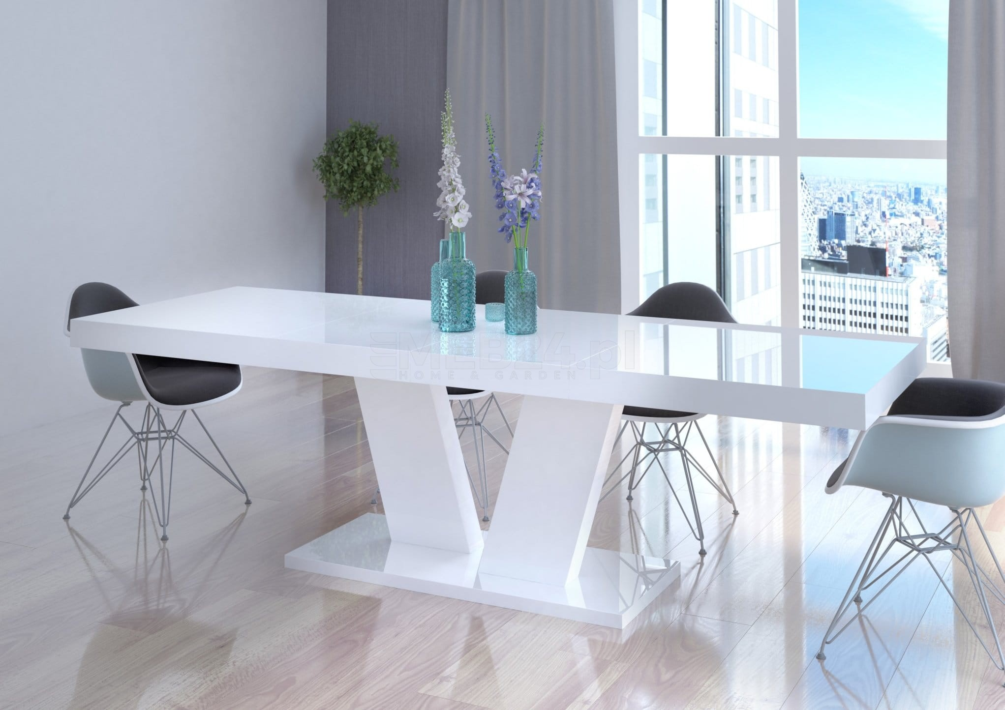 Stół Rozkładany Vega Biały Wysoki Połysk Z Kategorii Stoły